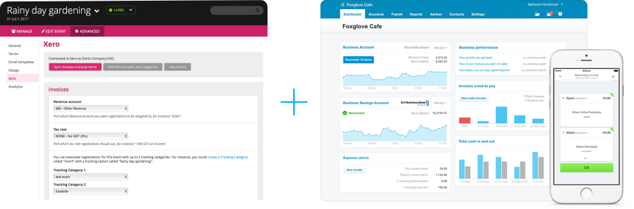 Screen shot of Xero and Lil Regie admin interfaces.