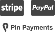 Stripe, PayPal and Pin Payments Logos